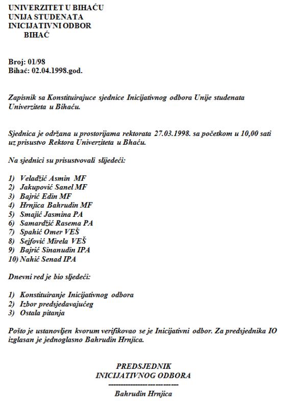 Zapisnik sa konstituirajuće sjednice