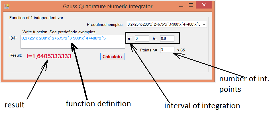 C# implementation of numerical integration by Gaussian Quadrature of 1D function  (3/3)
