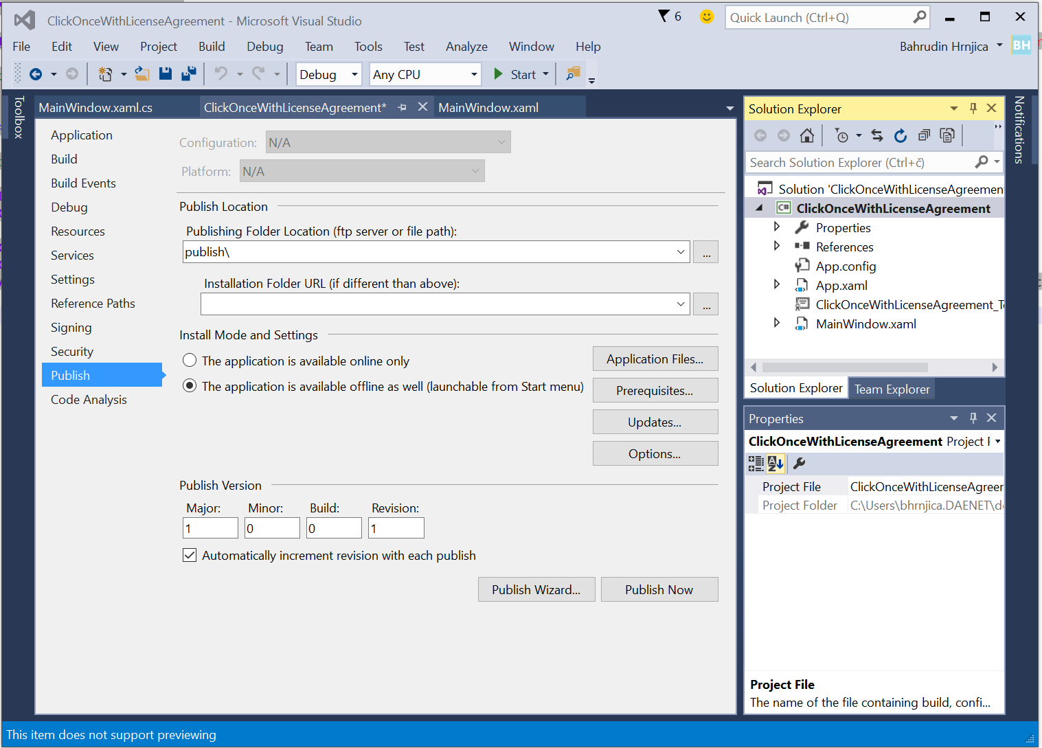 Add EULA to ClickOnce Installation using Visual Studio 2015