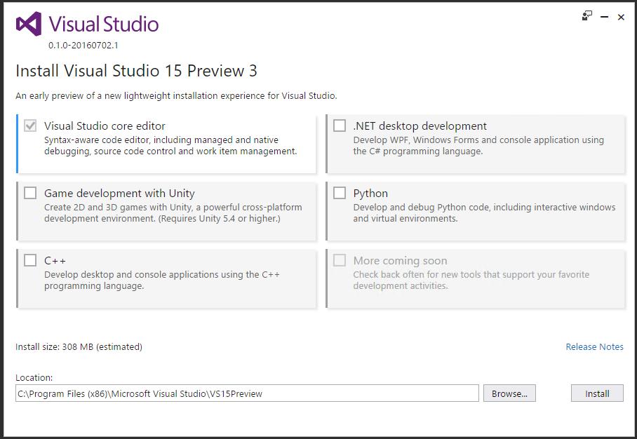 Visual Studio vNext new Installer - C# &  NET technologies